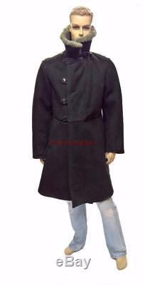 Bekesha Black Jacket Manteau D'hiver En Peau De Mouton D'officier Russe À L'urss Tulup Chaud