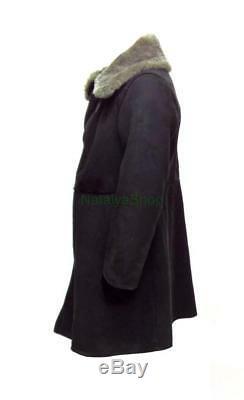 Bekesha D'hiver En Peau De Mouton Noir Officier Russe Manteau Armée Urss Veste Touloupe