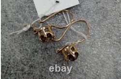 Bijoux De L'urss Soviétique De Style Russe Lovely Boucles D'oreilles Rose Or 14k 583