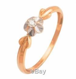 Bijoux Vintage Russe Urss Bague Rose Massif Gold14k 585 Taille De Diamant 5,5 1,13 G