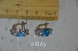 Boucles D'oreille New Russian Solid Rose Gold 14k 585 Ussr Fine Bijoux Topaze Bleue 5.68g