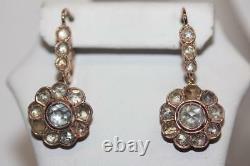 Boucles D'oreilles 14k Rose Or Russe Rose-cut Diamant Soviétique Boucles D'oreilles Piercées