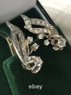 Boucles D'oreilles 14k White Yellow Gold European Vintage Diamond Russe/soviétique