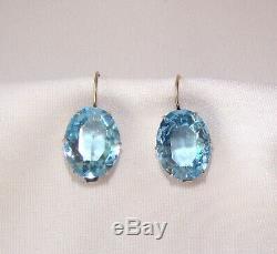 Boucles D'oreilles Azur Blu Stones En Argent Sterling 925 Star Soviétique De Russie Vintage