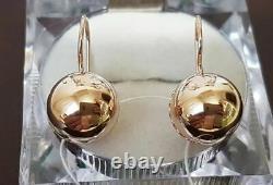 Boucles D'oreilles Boules D'or Russe Rose 14k 585 New Ussr Style Soviétique Original100% Rare