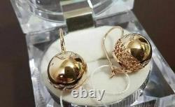 Boucles D'oreilles Boules Or Russe Rose 14k 585 Nouveau Style Soviétique Original100% Rare