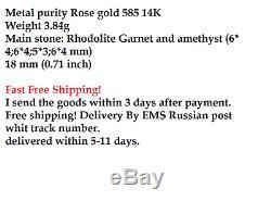 Boucles D'oreilles En Or Rose 14k Nouveau Russe Beau Style Urss Bijoux 585 3,84 G Améthyste