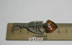 Boucles D'oreilles Énormes Vintage Soviétique Russe Argent 925 Ambre De La Baltique Urss