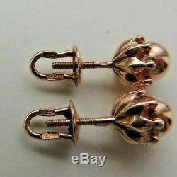Boucles D'oreilles Fantastiques Vintage Russes Soviétiques 583,14k En Or Rose Massif
