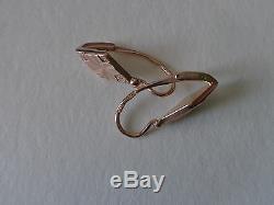 Boucles D'oreilles Losange Vintage En Or Rose 14k 583 Étoile Et Marteau Urss Russe
