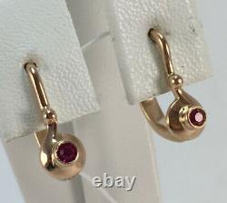 Boucles D'oreilles Mignon Rare Vintage Urss Soviétique Russe Or Rose 583 14k Ruby Enfants