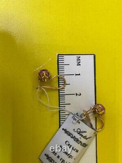 Boucles D'oreilles Or Russe Massif Or Rose 14k 583 2,35g Urss Soviet Vintage Rétro