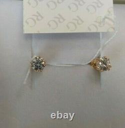 Boucles D'oreilles Or Russe Solid Rose Or 14k 585 Diamant 1.88g Stud Soviet Ussr