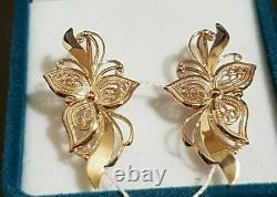 Boucles D'oreilles Russe Or Rose 14k 585 New Ussr Style Soviétique 3.4g Original Rare