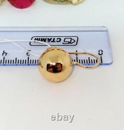Boucles D'oreilles Russes Balle En Or Massif En Or Rose 14k 585 Nouveau Urss Soviétique De 3,7g