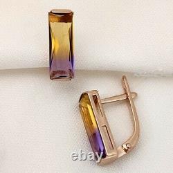 Boucles D'oreilles Solid Rose Gold 14k 585 Bijoux Fins Russes 3.43g Amétrine Pierre Urss