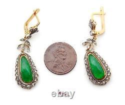 Boucles D'oreilles Soviétique Russe Dangle 56 Vert 14k Or Jade Impérial Diamants 9g