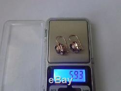 Boucles D'oreilles Soviétiques Anciennes En Or Rose Massif 14k 583 Alexandrite 5,93 G Urss Russe