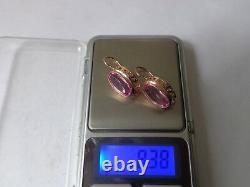Boucles D'oreilles Soviétiques En Or Massif 14k 583 Star Ruby 8.38 Gr Russie Urss