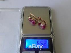 Boucles D'oreilles Soviétiques En Or Rose Massif 14k 583 Avec Rubis 6.52 Gr Urss Russe