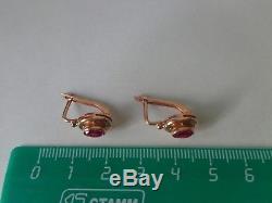 Boucles D'oreilles Soviétiques En Or Rose Massif 14k 583 Étoiles De Rubis 3.54 Gr Urss Russe