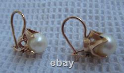 Boucles D'oreilles Soviétiques Soviétiques Rose Gold Pearl Vintage 583 Timbre