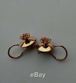 Boucles D'oreilles Vintage 583 En Or 14k Étoile Stamp Union Soviétique Urss Russe 2.5 Grammes