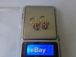 Boucles D'oreilles Vintage En Or Rose Massif Soviétique 14k 583 Étoile Alexandrite 4.01 Gr Russe