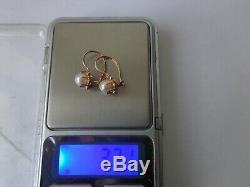 Boucles D'oreilles Vintage En Or Rose Massif Soviétique 14k 583 Étoiles Nacre 3.71 Gr Urss Russe