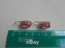 Boucles D'oreilles Vintage En Or Rose Massif Soviétique 14k 583 Star Ruby 8.18 Gr Urss Russe