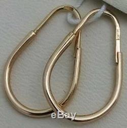 Boucles D'oreilles Vintage Or 583 Urss Bijoux Soviétique Russe 14k 1.34 G Sans Pierre