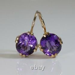 Boucles D'oreilles Vintage Russes Amethyst Solitaire Gold Et Ring, Soviet Era 1940s