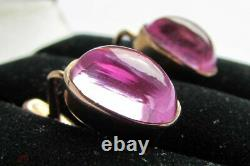 Boucles D'oreilles Vintage Saphir Rose Cabochon Russe Soviet Urss Or 14k 583