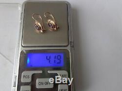 Boucles D'oreilles Vintage Soviétique Solide Or Rose 14k 583 Alexandrite 4,19 Gr Urss Russe