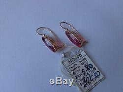 Boucles D'oreilles Vintage Soviétique Solide Or Rose 14k 583 Gr Star Ruby 5,80 Urss Russe