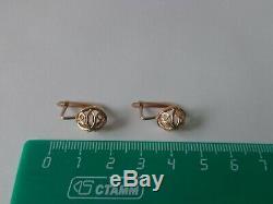 Boucles D'oreilles Vintage Soviétique Solide Or Rose 14k 583 Star Hammer Urss Russe 2,62 Gr
