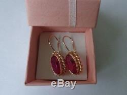 Boucles D'oreilles Vintage Soviétique Solide Or Rose 14k 583 Star Ruby 5,92 Gr Urss Russe