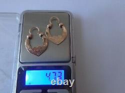 Boucles D'oreilles Vintage Soviétiques En Or Rose Massif 14k 583 Star Hammer Urss Russe 4,73 Gr