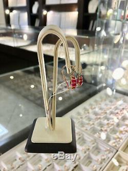 Boucles D'oreilles Vintage Uniques Russes Style Soviétique Soviétique Bijoux En Or 14k 585 Rubis