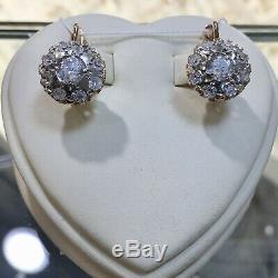 Boucles D'oreilles Vintage Urss Retro Framboises Russes Soviet Urss Bijoux Or 14k 585
