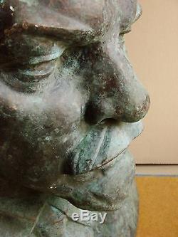 Buste D'auteur Soviétique Ukrainien Russe Bronze Sculpture Lenin XXXXL Monumental