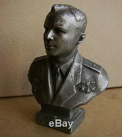 Buste Russe Soviétique Gagarine Espace Astronaute Statue En Métal Kosmos Rare