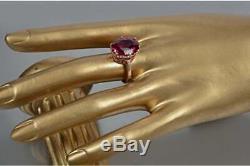 Cadeau D'anneau De Rubis Énorme De Bijoux Soviétiques En Argent Sterling Avec De L'or Rose 14k Urss Russe