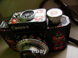 Caméra Smena-2. Stylisée Comme Petrykivka. Fait À La Main. Urss Russe Soviétique