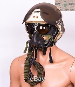Casque De Pilote Russe Zsh-3 + Masque À Oxygène + Casque En Cuir, 4 Pièces