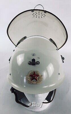 Casque De Pompier Vintage Ussr Russian Russian Fighter Fireman Emblème À Visière Rabattable