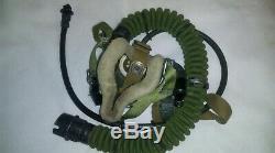 Casque En Cuir Mig Soviétique Russe Pilot Hat 1984 58cm M + Oxygen Mask Set Urss