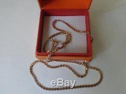 Chaîne Vintage Soviétique Or Massif Rose Collier 14k 583 Étoiles 16,02 Gr Urss Russe