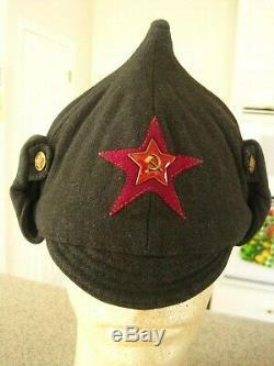Chapeau D'hiver D'infanterie Daté 1938 De La Seconde Guerre Mondiale Soviétique En Russie - Boudenovka
