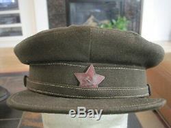 Chapeau Original De Commandant Russe / Casque De Commissaire De La Deuxième Guerre Mondiale Russe Daté De 1942